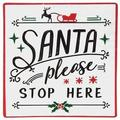 FabricMCC Santa Stop Here Metal Sign Plaques and Signs Outdoor Aluminum Metal Sign 12X12 Inches