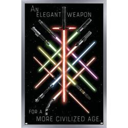"Trends International Star Wars - Lightsaber Group Wall Poster 24.25"" x 35.75"" x .75"" Silver Framed Version"