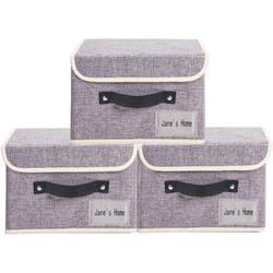 """Jane's Home large Storage Bins with Lids 3 Pack Foldable Toy Storage Baskets Washable Fabric Decorative Storage Boxes with lids as Closet Organizers and Storage Clothes for Christmas 14.9""""/9.8""""/9.8"""""""