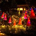 Christmas Ornaments,Decorations Outdoor 8Pcs Hanging Lighted Glowing Santa Hats with 14Pcs Small Decor Bells 33ft Christmas Lights String with 8 Lighting Modes for Outdoor, Indoor, Yard, Tree