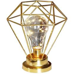 Metal Table Lamp, Diamond Shape Bedside Lamp Floor Lamp, Battery Operated Nordic Style Iron Desk Lamp Creative Night Light Decorative Lighting For Bedroom, Hotel Gold