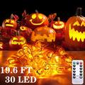 Halloween Pumpkin String Lights, 19.6 Ft 30 LED Orange 3D Pumpkin Lights Waterproof Dimmable 8 Modes with Remote & Timer Battery Operated Halloween Decoration Lights for Outdoor Indoor Halloween Decor