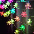 Christmas Lights Snowflake Decorations Multicolor Changing Snowflake Lights String, Battery Operated Christmas Decorations Indoor Fairy Lights, Christmas Ornaments, 25ft 50LED