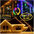 KNONEW LED Curtain Icicle Lights, 8 Modes, String Fairy Light, with Remote Control, LED String Light for Wedding Party/Christmas etc.. Warm to Multi Color 160 LED 16.4ft 32 Drops