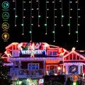 EEEkit LED Icicle Lights, 96 LED 11.5ft 8 Modes Waterproof Fairy String Lights Plug in Extendable Curtain Light String Christmas Lights for Bedroom Outdoor Patio Yard Garden Wedding Party Decorations