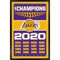 """Trends International NBA Los Angeles Lakers - Champions 20 Wall Poster 16.5"""" x 24.25"""" x .75"""" Black Framed Version"""