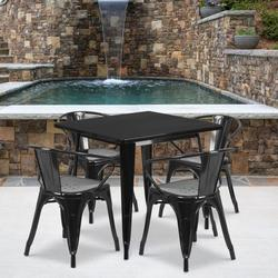 """Flash Furniture Commercial Grade 31.5"""" Square Black Metal Indoor-Outdoor Table Set with 4 Arm Chairs [ET-CT002-4-70-BK-GG]"""