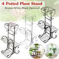 4 Tier/6 Tier Stainless Steel Plant Stand Flower Planter Garden Display Holder Shelf Rack for Home Room Ornaments Indoor Outdoor Patio 4 Tier