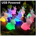 Halloween Night Light Christmas Rabbit LED String Lights 5ft 10 LEDs Cute Bunny Shaped Fairy Lights USB Powered Colorful Birthday Party Decoration Night Lights Gifts for Kids Baby Bedroom Décor