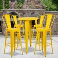 """Flash Furniture Commercial Grade 24"""" Round Yellow Metal Indoor-Outdoor Bar Table Set with 4 Cafe Stools [CH-51080BH-4-30CAFE-YL-GG]"""