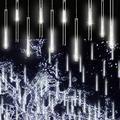 JosLiki Falling Rain Lights Meteor Shower Lights Christmas Lights 30cm 8 Tube 144 LEDs, Falling Rain Drop Icicle String Lights for Christmas Trees Halloween Decoration Holiday Wedding