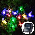 12/20 LED Solar Butterfly Fiber Optic Fairy String Lights Waterproof Christmas Outdoor Garden Holiday Decoration Night Lights