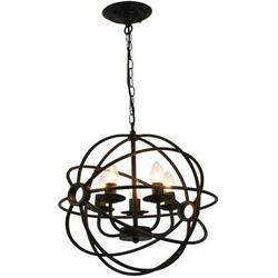 5 Light Base Chandelier Pendant Lamp Vintage Ceiling Fixture Lamp Globe Cage Chandelier Pendant Hanging Bar Light E14-Without light source