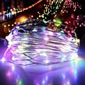 USB 2M 5M 10M 20M 20TO 200LED String Copper Wire Fairy Lights Wedding Xmas Party Decor 8 Modes LED string lights.Fairy lights.Christmas lights.Solar light string Four-color 2 meters 20LED