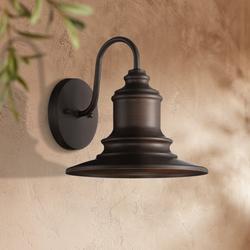 """Possini Euro Design Possini Euro Elgin 9 1/2""""H Bronze Outdoor Wall Light"""