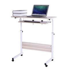 """Sztgfjh 31.5"""" Overbed Bedside Table Standing Desk, Tilting Height Adjustable Rolling Tray Table, Bed Sofa Side Table, for Laptop Working Reading Home Office"""