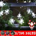 Frozen Party Supplies 6.5FT/3M 20 Led 3 Mode Snowflake String Light Garlands Ornaments Christmas Tree Decorations for Home Winter Xmas Christmas Decor Snow