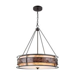 3 Light Drum Chandelier in Transitional Style - 27 Inches tall and 24 inches wide Tiffany Bronze