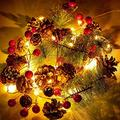 30 LED Christmas Garland Lights String, 10ft Pinecone Red Berry Garland Light Battery Power Fairy String Lights For Christmas Tree Decor Holiday Party Wedding Patio Garden Thanksgiving Home Decoration