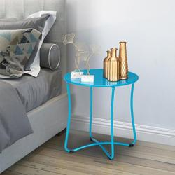 SamyoHome Metal End Table, Sofa Table Small Round Side Tables, Anti-Rust and Waterproof Outdoor & Indoor Snack Table Blue