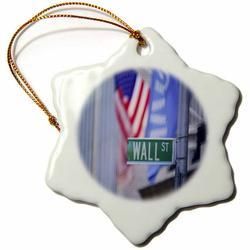 3dRose Wall Street - Snowflake Ornament, 3-inch