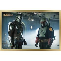 "Trends International Star Wars: The Mandalorian Season 2 - Duo Wall Poster 16.5"" x 24.25"" x .75"" Gold Framed Version"