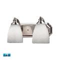 Bath Lighting 2 Light LED With Satin Nickel Finish Simply White Glass 14 inch 27 Watts - World of Lamp