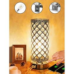 Touch Lamp Control Crystal Table Lamp 3-Way Dimmable Bedside Nightstand Desk Lamps with Dual USB Charging Ports,Small Decorative Lampshade Night Light for Bedroom Living Room, Bulb Included