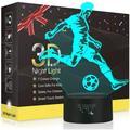 Soccer LED Night Light, Metplus 3D Illusion Lamp Kids' Room Decoration Table Desk Lighting Sports Nightlights Xmas Birthday Gifts Toys