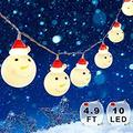 Snowman Christmas Lights, Xmas String Lights Waterproof 4.9 ft 10 LEDs, Fairy Strings Battery Operated Indoor Outdoor, DIY Lights Decorations for Home, Garden, Patio Festival Party (Warm White)