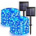 Jmexsuss Blue Halloween Lights, 2 Pack Solar String Lights Outdoor Waterproof, 32.8Ft 100 Led Solar Fairy Lights, 8 Modes Coppe Wire Lights For Christmas, Patio, Garden, Party, Halloween Decoration