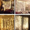 Mgaxyff Window Curtain Lights,Fairy Curtains String Light, Fairy Curtains Window Light,9.8ft x19.7ft 600LED Window Curtain String Fairy Light Wedding Christmas Party Decor(6*3m),Warm Color