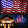 Kohree 2m*1m 420 LED Flag Net Lamp American String Lights For Independence Day Festival Holiday Indoor Outdoor Christmas Decoration AC110V