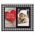 for First Time Mom 1st Mothers Day Frame to Mommy on Our First Mother's Day Picture Frame Holds 3.5� x 5� Photo Boy or Girl Nursery Decor Black & White Buffalo Plaid