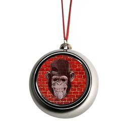 Ornaments Funny Monkey Punk on Brick Wall Graffiti Street Art Print Design Bauble Christmas Ornaments Silver Bauble Tree Xmas Balls