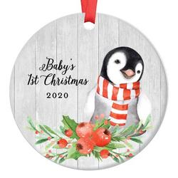 """Baby Penguin Baby's First Christmas Ornament 2020, 1st Babies Xmas Present for New Girl Boy Son Daughter Mommy Daddy Parents Ceramic Porcelain Keepsake 3"""" Flat Circle with Red Ribbon & Free Gift Box"""