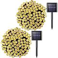 Jmexsuss 2 Pack 100 Led Solar String Light 42.7Ft 8 Modes Solar Christmas Lights Waterproof For Gardens,Wedding,Party,Christmas Tree,Halloween,Curtains,Outdoors(Warm White)