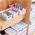 Creative Plastic Desktop Hollow Storage Basket Underwear Storage Box Kitchen Organizer Clothes Toys Storage Container