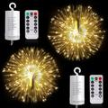 Twinkle Star 2 Set Lights Battery Operated, Led String Lights Remote Control Timer Twinkle String Lights Firefly Lights for Garden Party Indoor Decor, Warm White