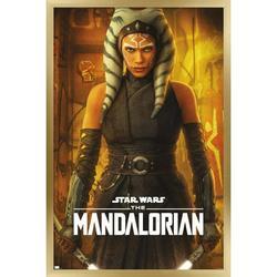"Trends International Star Wars: The Mandalorian Season 2 - Ahsoka One Sheet Wall Poster 16.5"" x 24.25"" x .75"" Gold Framed Version"