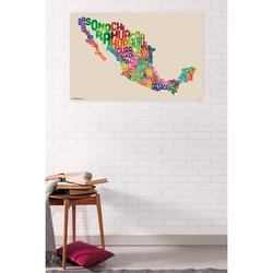 """Trends International Mexico Map Text Wall Poster 22.375"""" x 34"""""""