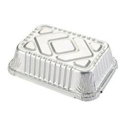 Clearance! Tin Carton Barbecue Rectangular Aluminum Foil Box Lunch Box Tin Foil Bowl Disposable Takeaway Packed Lunch Box Container silver 2 packs
