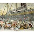 San Francisco Farewell. Ncontemporary American Newspaper Illustration Of San Francisco Dockside Crowds Cheering The