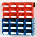 "Triton Products® LocBin 26-Piece Wall Storage Unit with (12) 5-3/8""L x 4-1/8""W x 3""H Red Bins & (12) 7-3/8""L x 4-1/8""W x 3""H Blue Bins, 24ct, Wall Mount Rails 8-3/4""L with Hardware, 2pk"