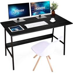 Computer Desk Office Desk Study Writing Table Modern Simple Style PC Table, Black Metal Frame Sturdy Office Desk PC Laptop Notebook Study Writing Table for Home Office Workstations