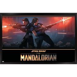 "Trends International Star Wars: The Mandalorian Season 2 - Back to Back Wall Poster 16.5"" x 24.25"" x .75"" Black Framed Version"