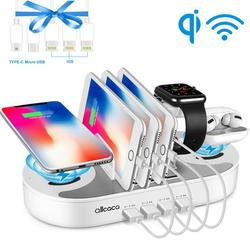 4 Ports USB Charging Station with 2 Qi Wireless Charging Pads, Qi Fast Wireless Charging Stand, Charging Dock Stand Organizer for iWatch3/4/5, Airpods and Smartphone