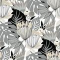 RoomMates Retro Tropical Leaves Gray Peel and Stick Wallpaper
