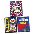 """Gango Home Decor Adorable Red, Blue & Yellow """"Superheroes Rule,"""" """"Boom, Bam, Pow"""" & """"Little Superhero"""" Set, Perfect for a Child's Room or Nursery; Three 16x20in Hand-Stretched Canvases"""