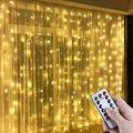Anpro LED Window Curtain String Light, 300 LED Warm White Window Fairy String Lights with 8 Modes, 3m x 3m 8 Modes USB Powered LED Curtain Lights for Christmas, Party, Wedding, Bedroom Decor